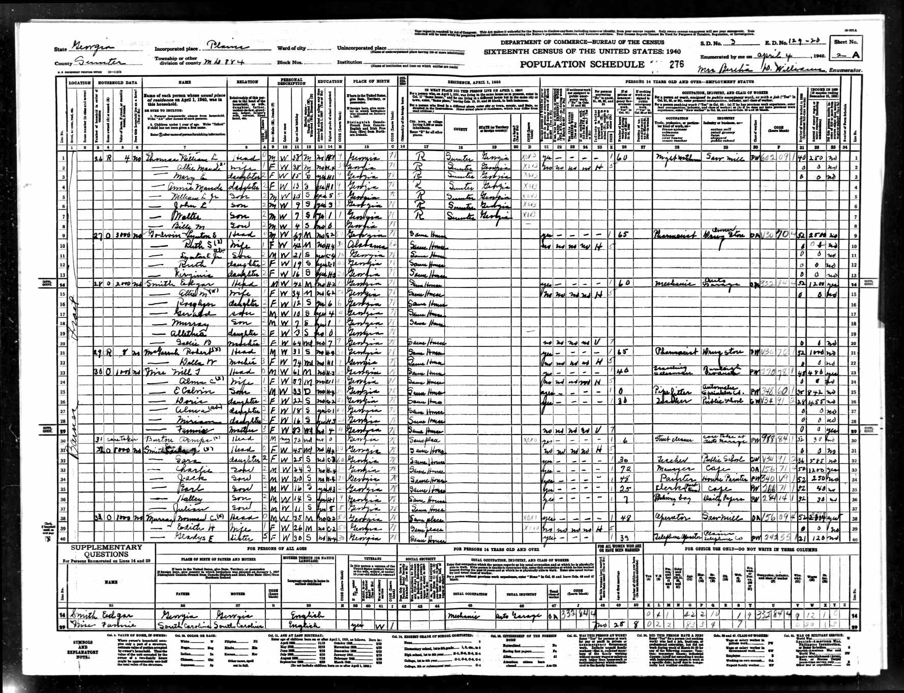 1940 Census Research The Jimmy Carter Presidential Library And